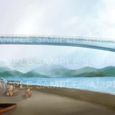 風景画(橋と子犬)